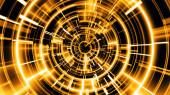 """Постер, картина, фотообои """"Abstract technology geometric tunnel. Futuristic digital gold co"""""""
