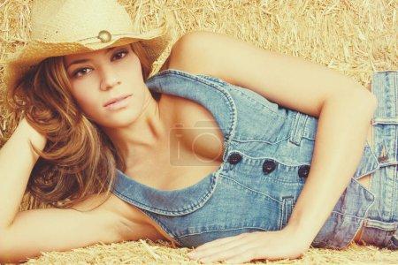 Beautiful Cowgirl Wearing Denim