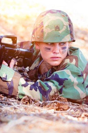 Military Woman In Camo