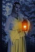 portrait female high elf with lantern at night