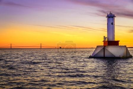 Lighthouse and the Mackinac Bridge