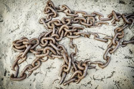 Old chain on sand