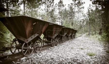 Old ore carts at an abandoned mine