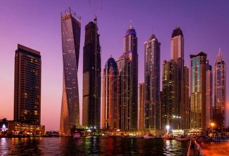 Dubai marina with skyscrapers