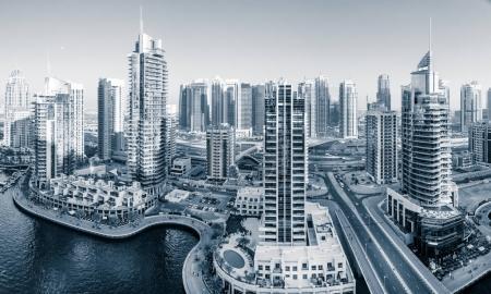 Panoramic view of Dubai Marina in UAE in the evening