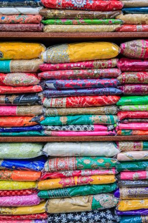 Colorful pashminas at an Indian shop in Dubai old town