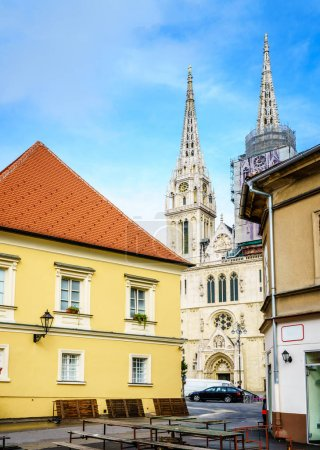 View of Cathedral of Zagreb from a market square