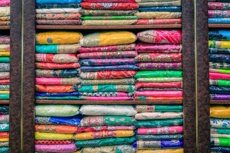 Colorful pashminas at an Indian shop in Dubai's old town