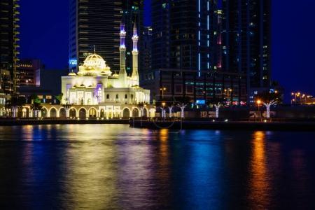 Photo pour Mosquée Mohammed Bin Ahmed Almulla à Dubai Marina la nuit - image libre de droit
