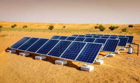 Solar panels in Dubai Desert Conservation Reserve, UAE