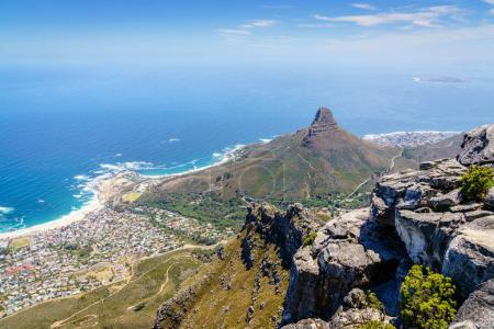 View of Lion's Head Mountain and Camps Bay from Table Mountain in Cape Town, South Africa