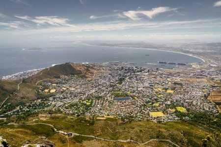 View of the city of Cape Town Atlantic coast from Table Mountain