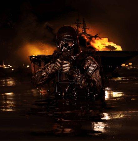 Photo pour Grenouillère Navy SEAL avec équipement de plongée complet et armes - image libre de droit