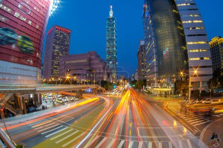 Photo for Taipei at night with 101 building - Royalty Free Image