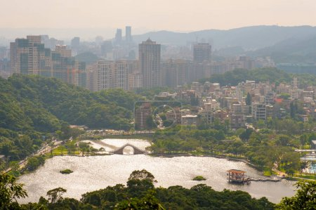 Aerial view of Taipei city by the sunset