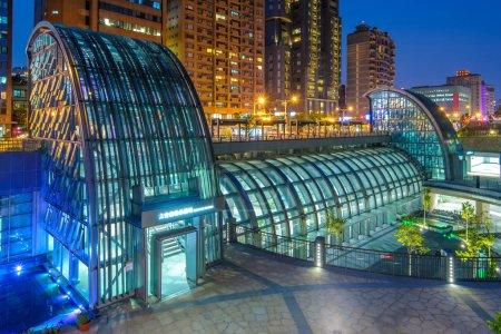 Night view of Daan Park MRT station in Taipei