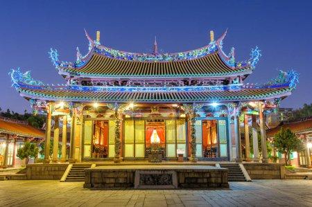 Night scene of Confucius Temple in Taipei