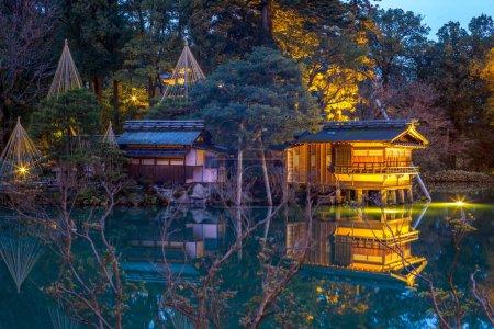 Night view of Kenrokuen, the Six Attributes Garden