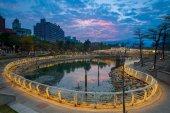 """Постер, картина, фотообои """"Heart of Love River in Kaohsiung City at night. """""""