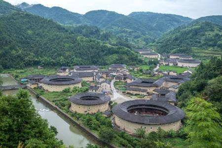 Photo pour Cluster Hekeng Tulou Zone panoramique Fujian - image libre de droit