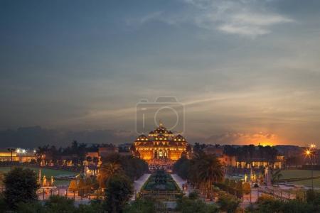 night view of akshardham temple in delhi, india