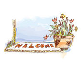 Welcome banner with door and flowers