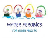Water aerobics banner with senior women