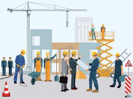 Illustration pour Site de construction avec ouvriers et architectes - image libre de droit