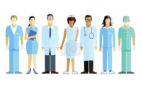Illustration for Group of doctors and nurses and medical staff - Royalty Free Image