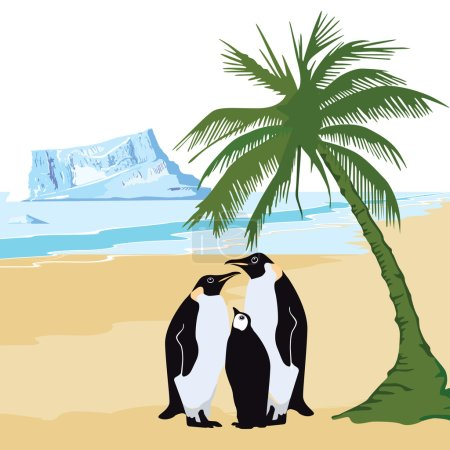 Illustration for Climate warming with penguin and palm - Royalty Free Image