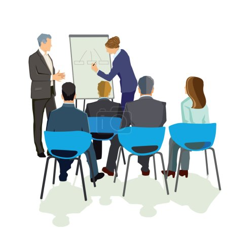 Illustration for Lecture in front of the group - Royalty Free Image