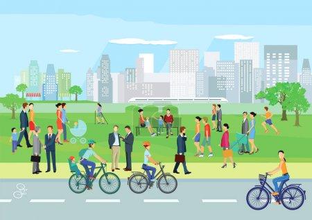 Illustration pour Les gens à loisir dans le parc - image libre de droit