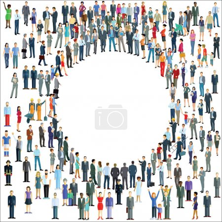 Illustration for People crowd around a circle - Royalty Free Image