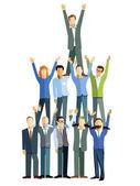Successful winning teamwork concept