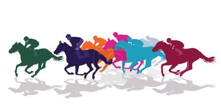 Jockeys with racing horses