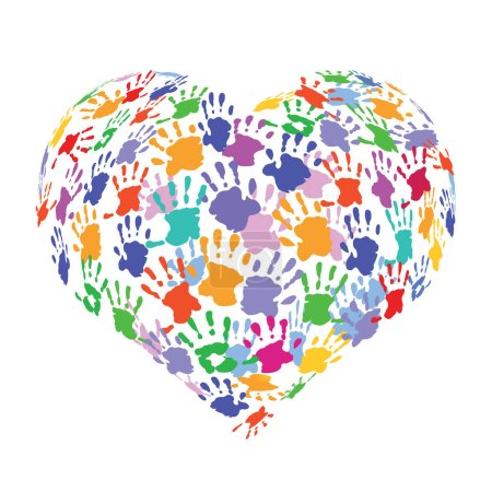 Heart shape formed with colorful handprints