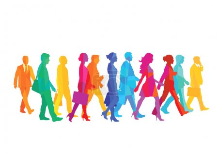 A group of people walking in the city. illustration
