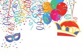 Carnival scenery with balloons and streamers