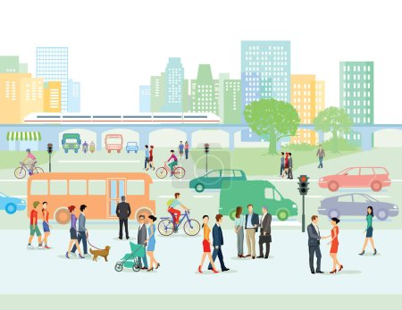 Illustration for Urban street with pedestrians and cars - Royalty Free Image