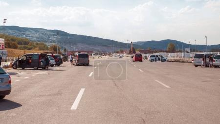 cars and road in touristic town