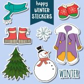 happy winter stickers collection