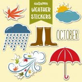 autumn weather stickers collection