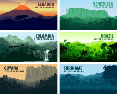 Vector set of panorams countries South America - V...