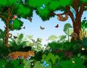 Rainforest with animals vector illustration