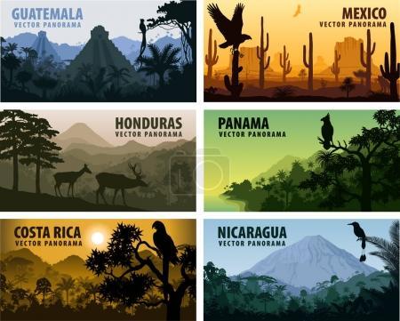 Illustration pour Ensemble vectoriel de panoramas pays Amérique centrale - Guatemala, Mexique, Honduras, Nicaragua, Panama, Costa Rica illustration - image libre de droit