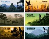 vector set of panorams countries Central America - Guatemala Mexico Honduras Nicaragua Panama Costa Rica