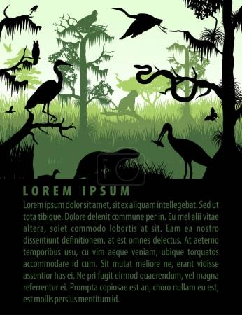 vector rainforest wetland silhouettes in sunset design template with heron, otter, python, puma, eagle and owl