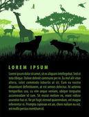Vector illustration of african savannah safari landscape with wildlife animals in sunset design template