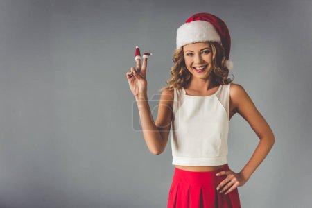 Beautiful woman celebrating Christmas