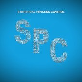Statistical process control diagonal typography background